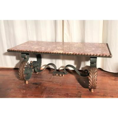 Coffee Table In The Style Of Poillerat Wrought Iron And Marble