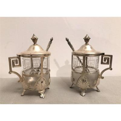 Pair Of Mustard Pot In Solid Silver XIXth Century
