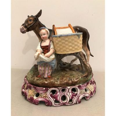 Porcelain Donkey Signed Jacob Petit, Early 19th Century