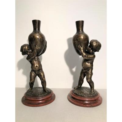 """Pair Of Bronzes Signed Louis Kley """"loves"""" Circa 1900"""