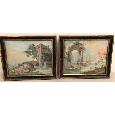 Two 18th Century Gouache Paintings Louis Gabriel Moreau (1740-1806)