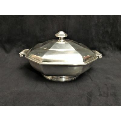 Vegetable Dish Art Deco Period Solid Silver Goldsmith Lappara Paris Grand Prix Yacht Club France 1935