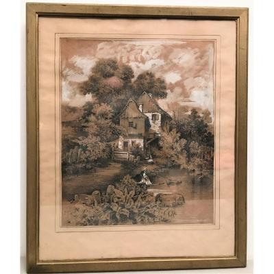 Painting Drawing Signed Louis Gadbois (1770-1826) Early 19th Century