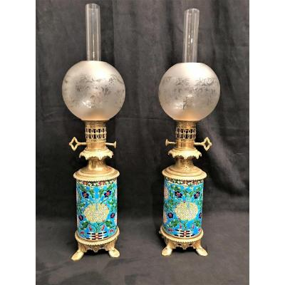 Pair Of Longwy Lamps, XIXth Century