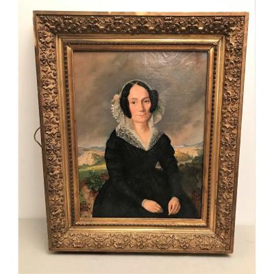 Oil On Canvas Portrait Of A Woman Lace Headdress Restoration Period XIXth Century