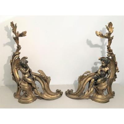 Devant de cheminée aux amours en bronze style Louis XV époque XIXème siècle