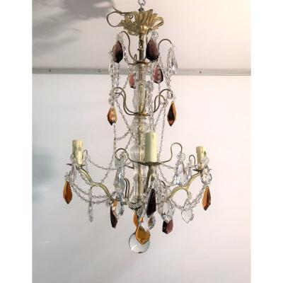 Lustre à pampilles couleur cristal et verre 4 lumières XXème siècle