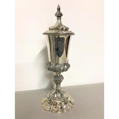 Coupe couverte en argent massif époque XIXème siècle