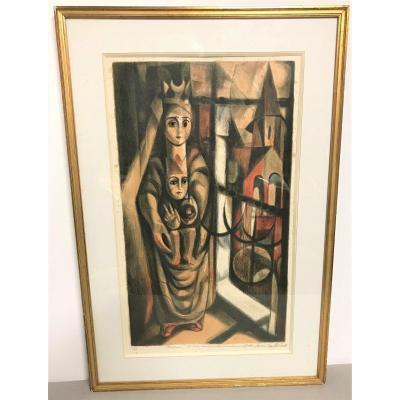 Gravure de Bernard Brussel-Smith : la vierge à l'enfant XXème siècle