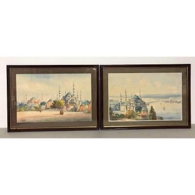 Deux aquarelles orientalistes signées Ro Cherif Istambul vers 1930