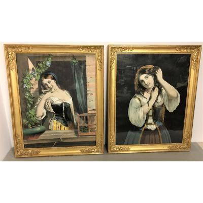 Deux estampes éditeurs Goupil et Vibert époque Restauration Louis Philippe