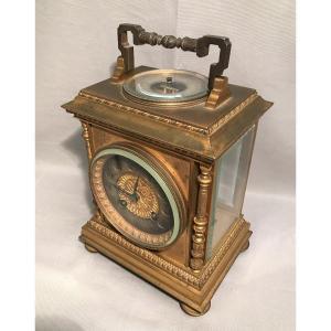 Pendule de voyage Anglaise isochronal baromètre thermomètre en bronze doré