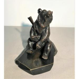19th Century Bronze Bear With Rifle