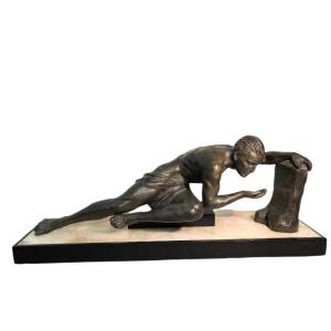 """Grande sculpture époque Art Déco """" l'homme à la source """""""