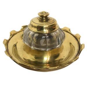 Encrier en bronze et cristal époque XIXème siècle