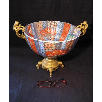 Coupe porcelaine Imari Japon et bronze doré XIX siècle