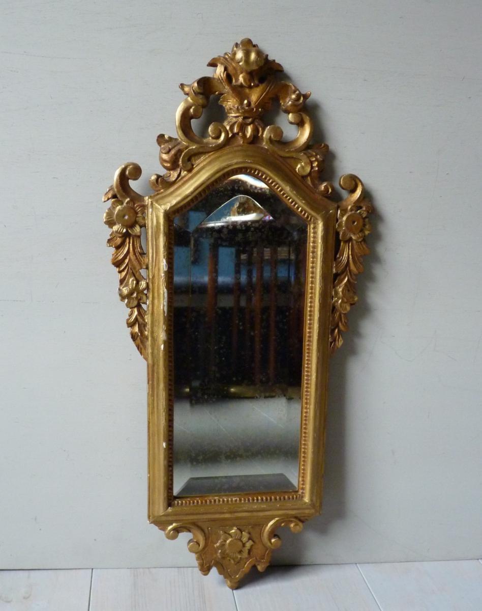 Petit miroir biseaut en bois dor miroirs Petit miroir decoratif