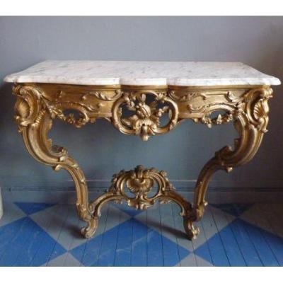 Console En Bois Doré Style Louis XV sommée d'un marbre