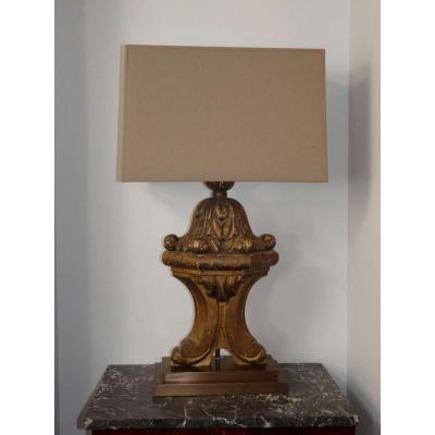 Lampe en bois doré