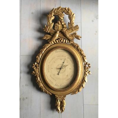 Barometer Louis XVI In Golden Wood