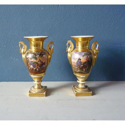Pairre Vases Porcelain Paris