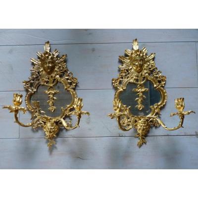 Paire d'Appliques En Bronze Doré Avec Miroir Style Louis XIV