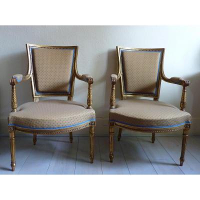 Paire de fauteuils polychromes style Louis XVI