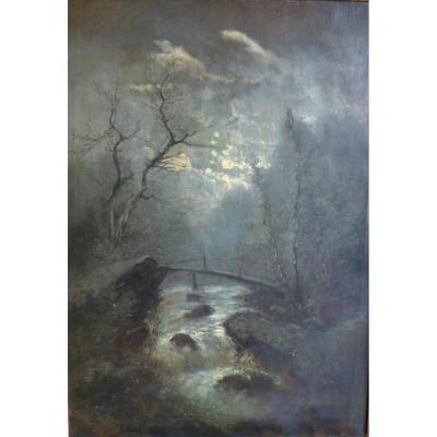 Edward Moerenhout (1801-1893) Torrent In The Moonlight