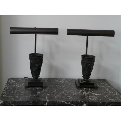 Paire De Lampes Gobelets En Bronze