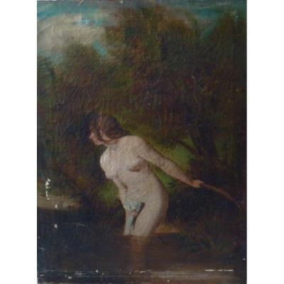 "Oil On Canvas, ""naked Woman Having A Bath"""