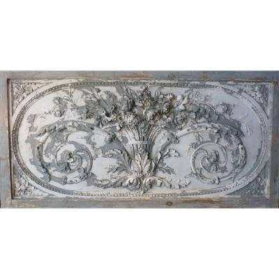Plaster Bas Relief With Flowers
