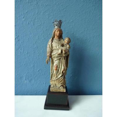 Polychrome Boxwood Virgin Mary