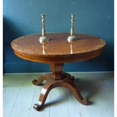 English Pedestal Table With Marquetry Decoration