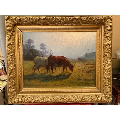 Tableau Paysage Et Vaches De Charles Lefevre