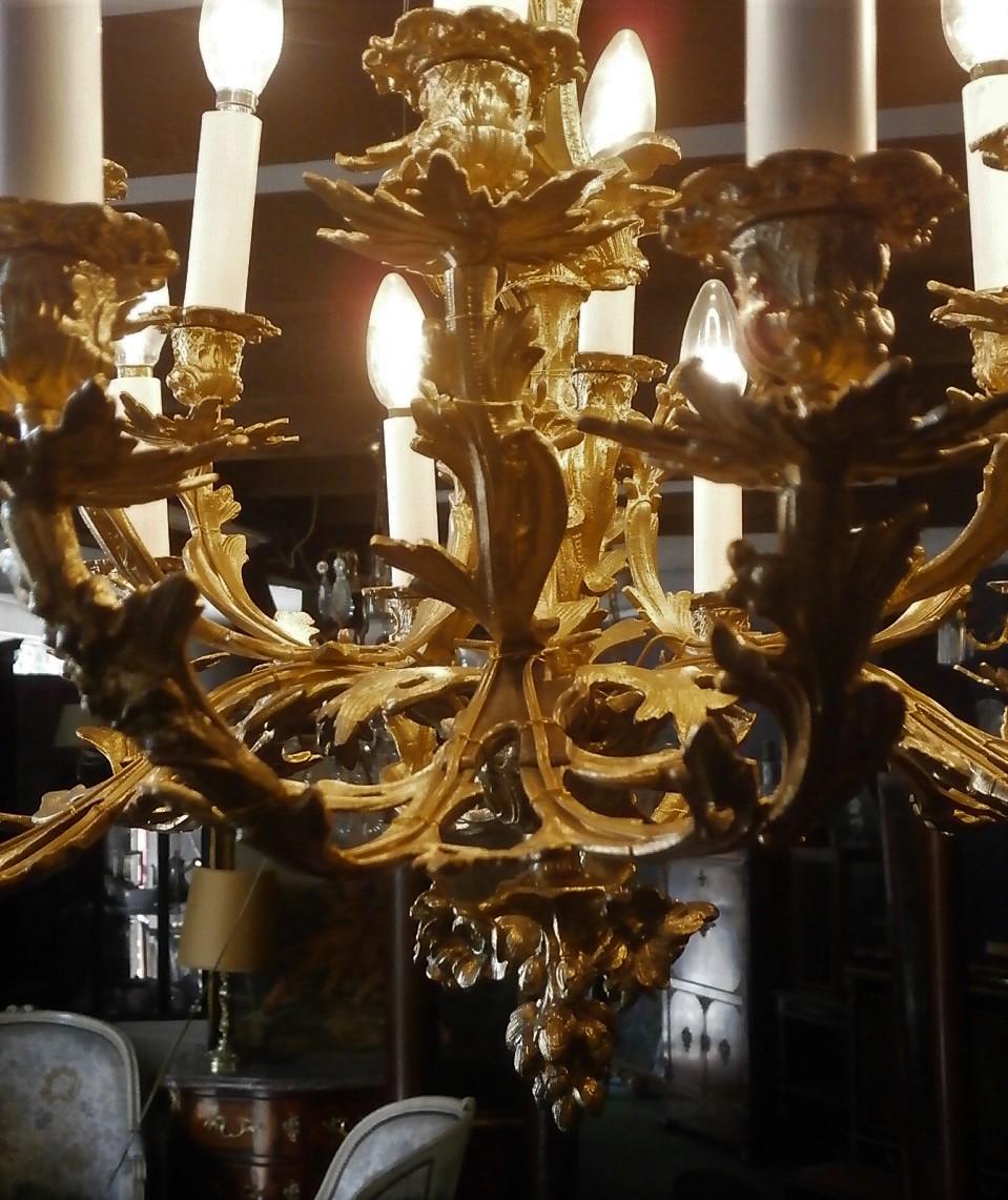 Lustre louis xv Rocaille En Bronze Doré