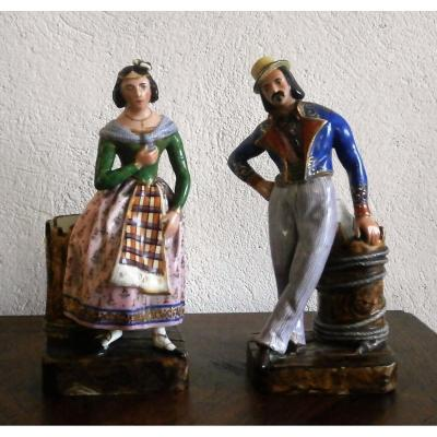 Couple d'élégants En Porcelaine Jacob Petit