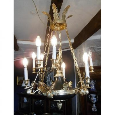 Bronze Chandelier With Two Patinas