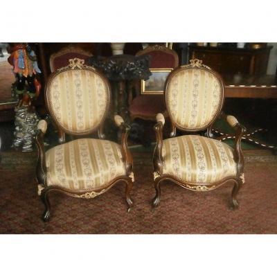 Pair Of Rosewood Armchairs.