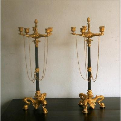 Large Pair Of Bronze Candelabra.