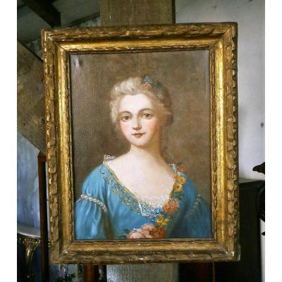 Portrait Huile Sur Toile.