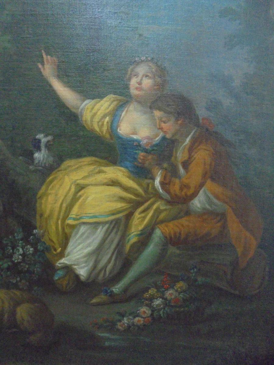 Peinture école française d'époque XVIIIème siècle-photo-3