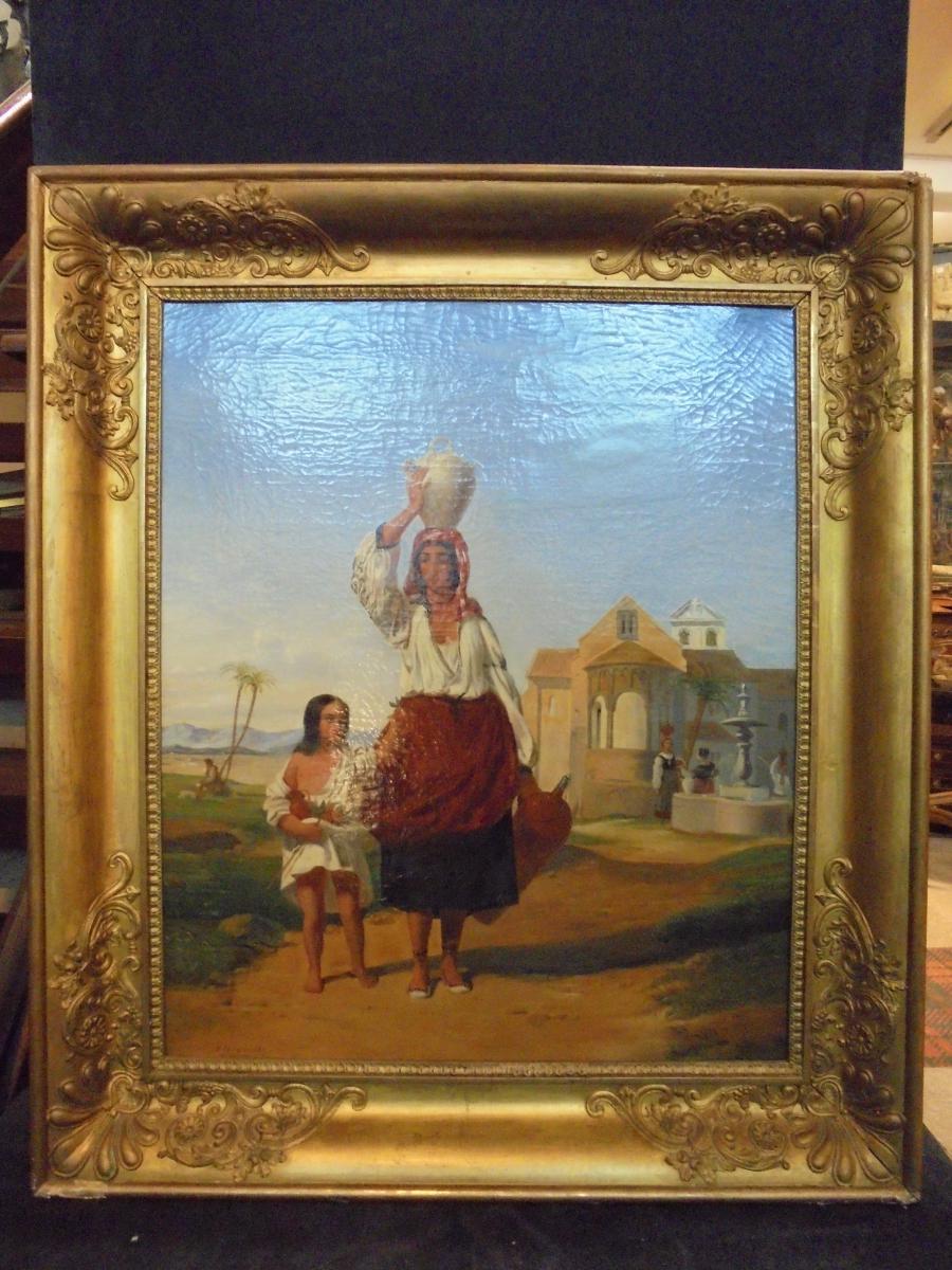 Peinture italienne école napolitaine milieu XIXème