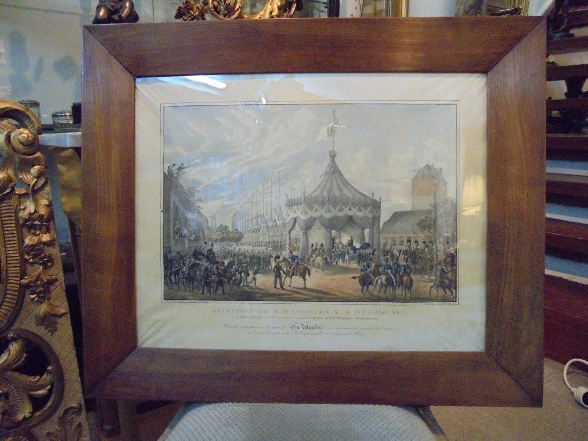 Gravure Mulhouse reception Charles X 1828