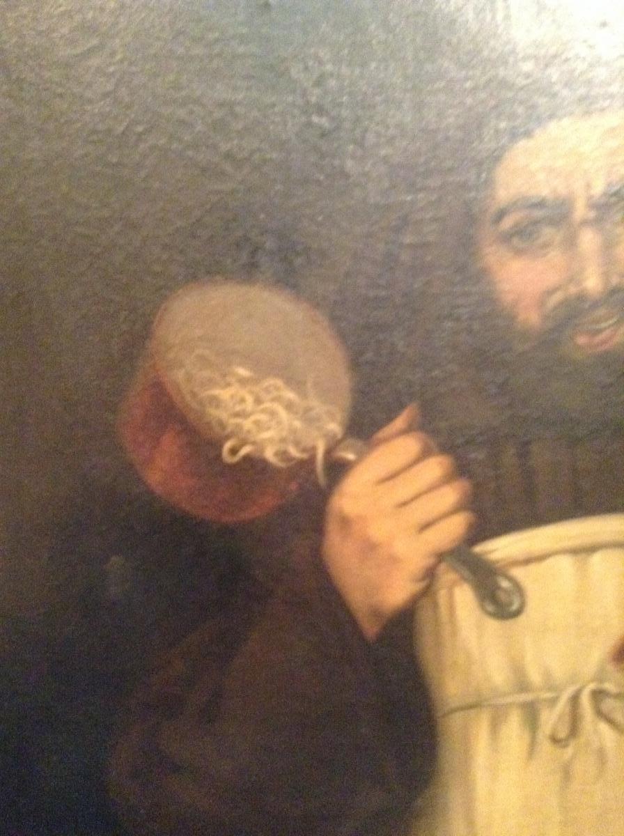 Moine tenant une casserole de pâtes, fin XIXème-photo-2