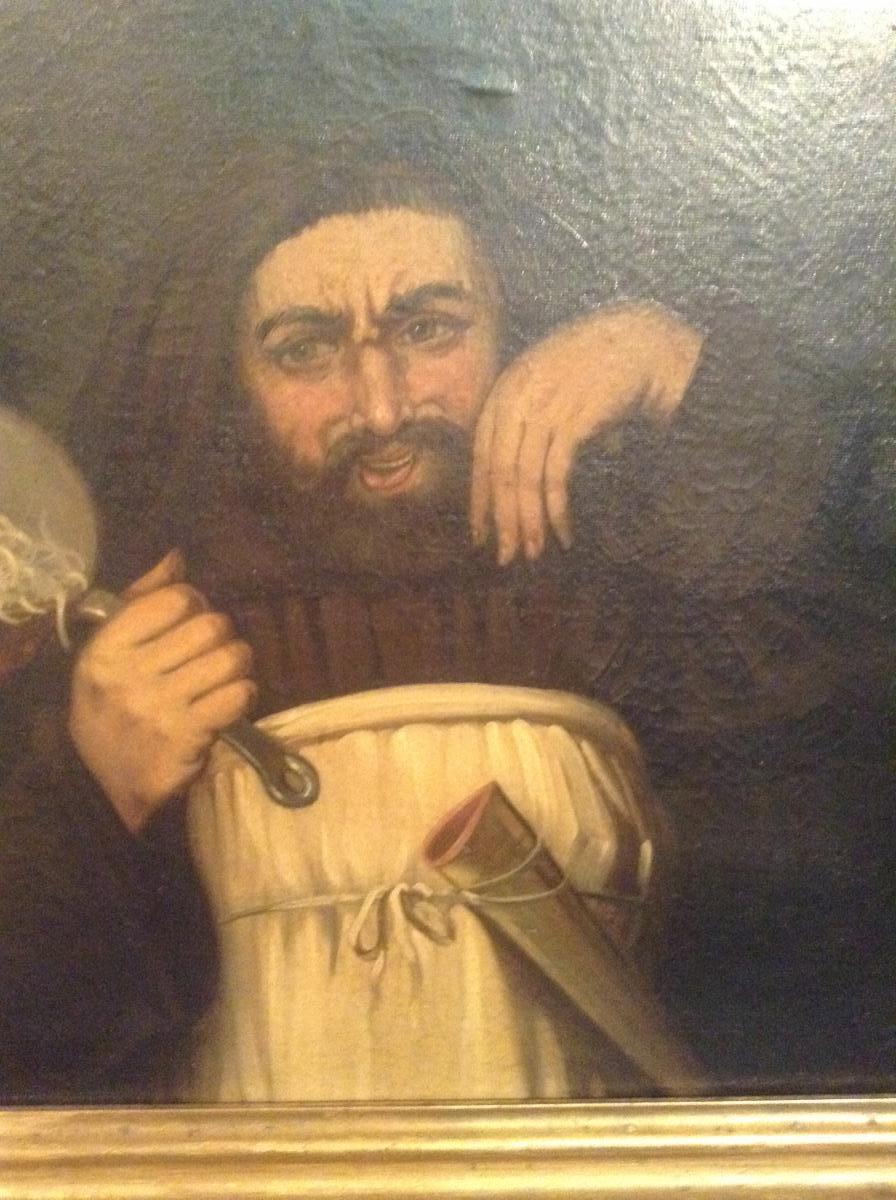 Moine tenant une casserole de pâtes, fin XIXème-photo-3