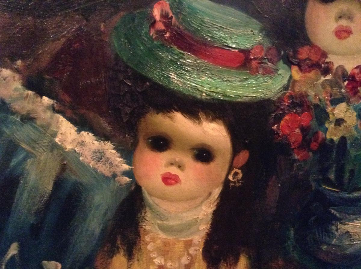 Poupée dans une boutique devant un tableau du Moulin Rouge-photo-4