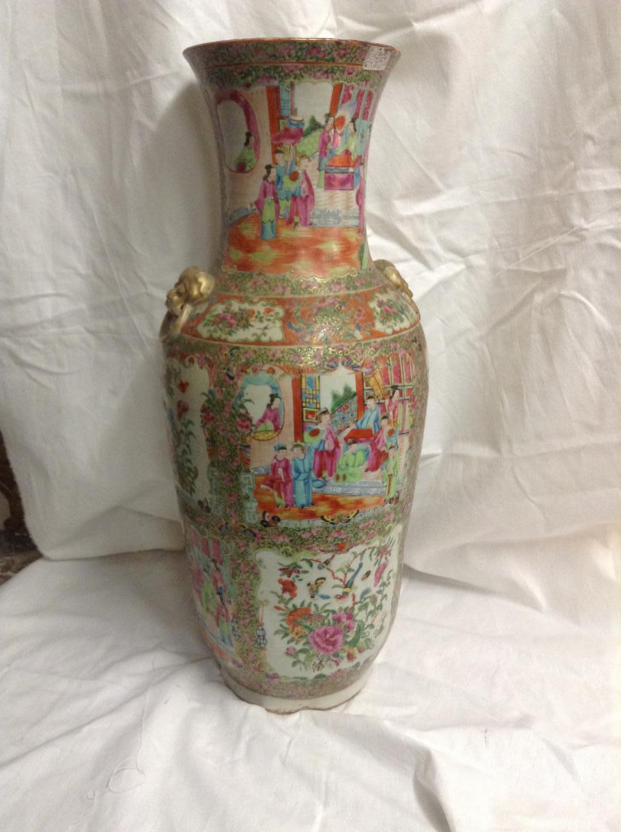 Grand Vase De Chine, Porcelaine, Canton XIXème