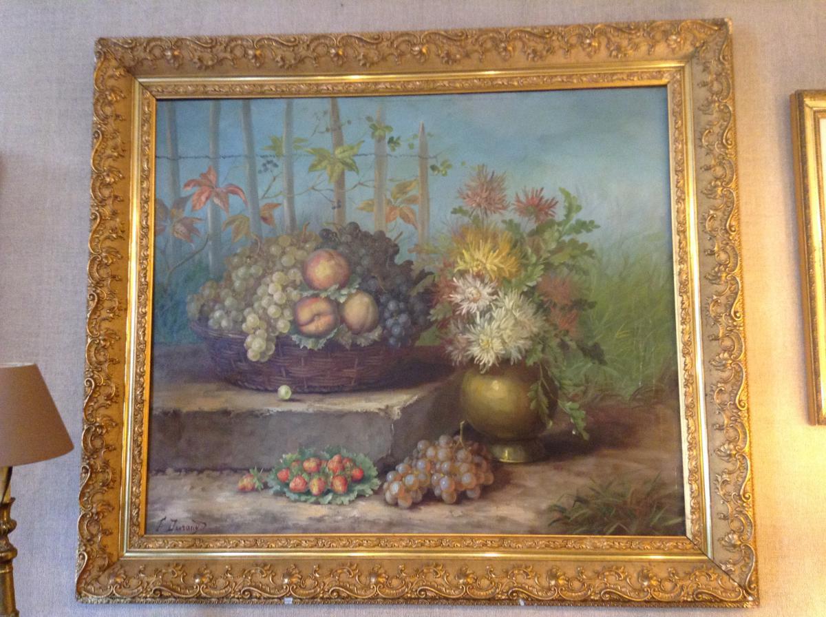 Beau Tableau Floral Signé F. Durand