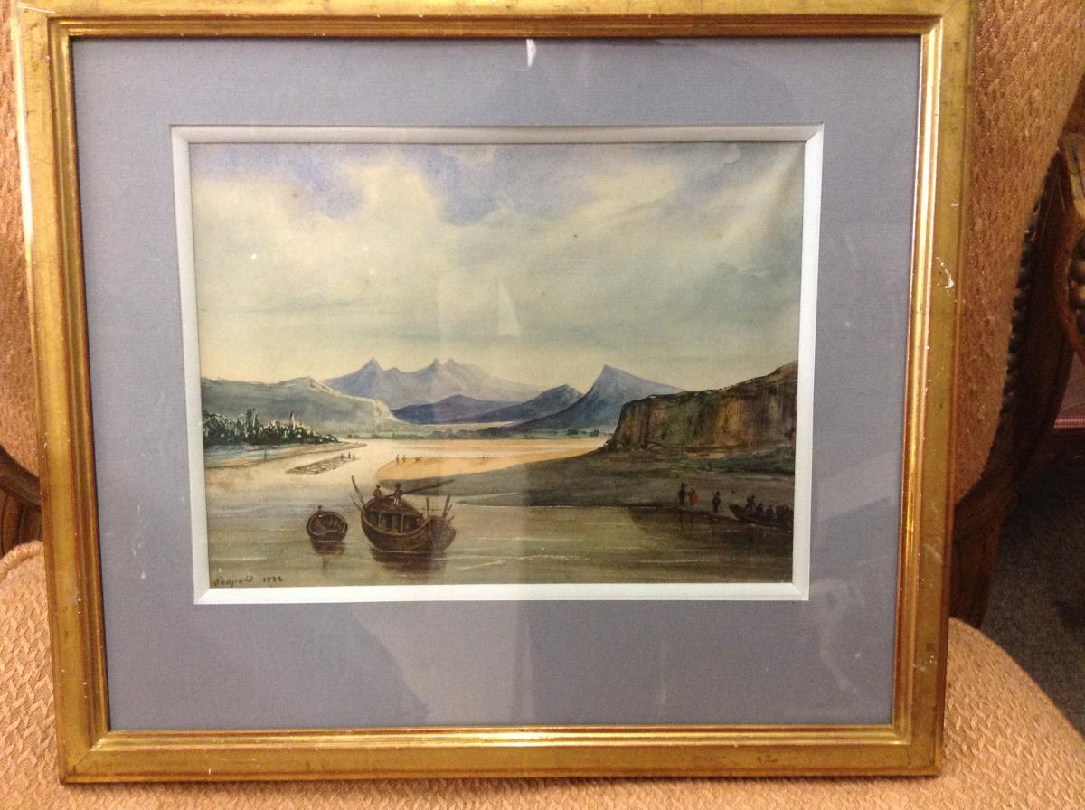 Gouache Marine Datée 1832