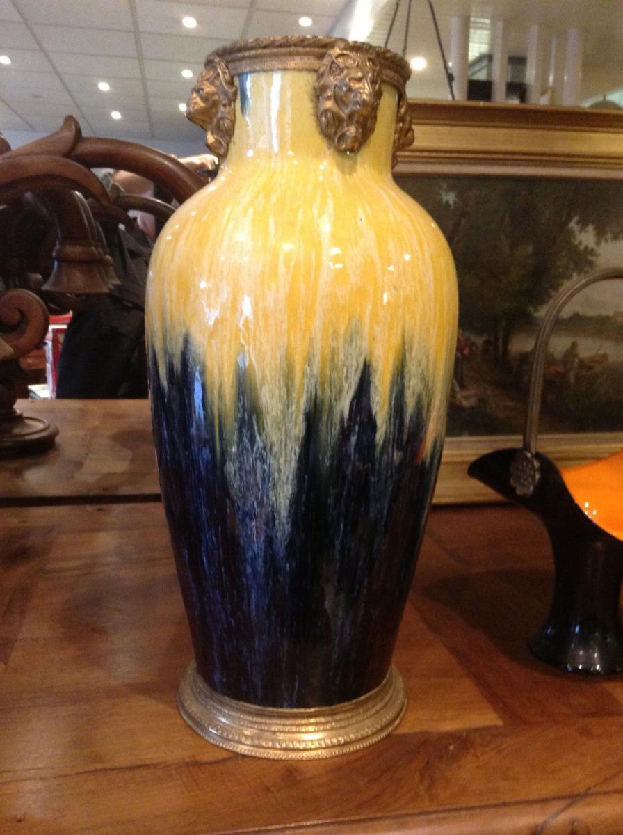 Vase en céramique signé Keramis Art Nouveau XXe siècle